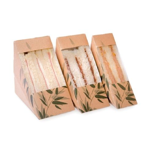 Коробка для одинарного сэндвича с окном 12,4*12,4*5,5 см, 100 шт/уп