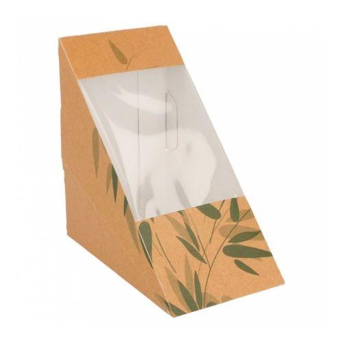 Коробка для двойного сэндвича с окном 12,4*12,4*7,3 см, 100 шт/уп