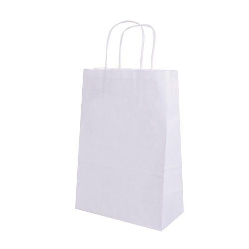 Пакет бумажный с ручками белый, 32+16*43 см