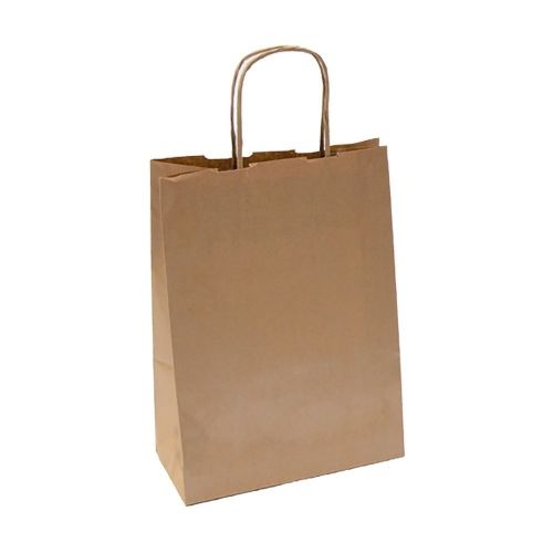 Пакет бумажный с ручками крафт, 20+10*29 см, 250 шт/уп