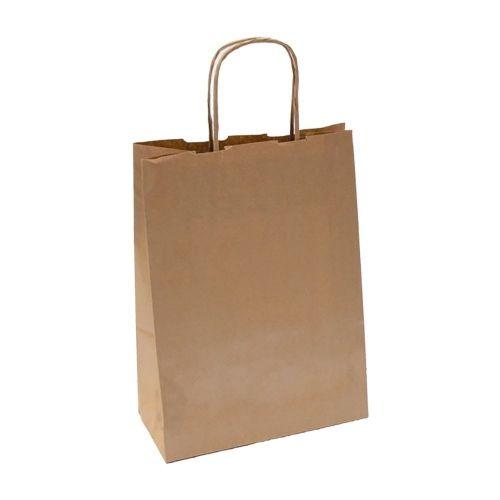 Пакет бумажный с ручками крафт, 26+14*32 см