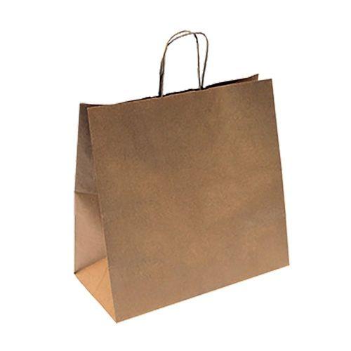 Пакет бумажный с ручками крафт, 32+16*31 см, 250 шт/уп