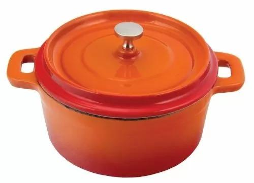 Кастюля с крышкой P.L. Proff Cuisine порционная оранжевая 14 см, эмалированный чугун