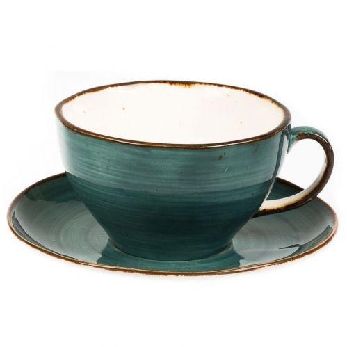 Чашка с блюдцем Fusion Green Sea 375 мл
