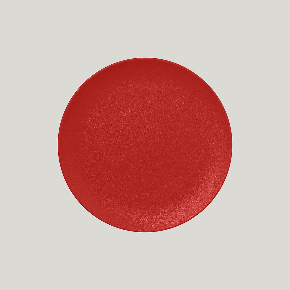 Тарелка  круглая плоская 21 см (красный цвет)