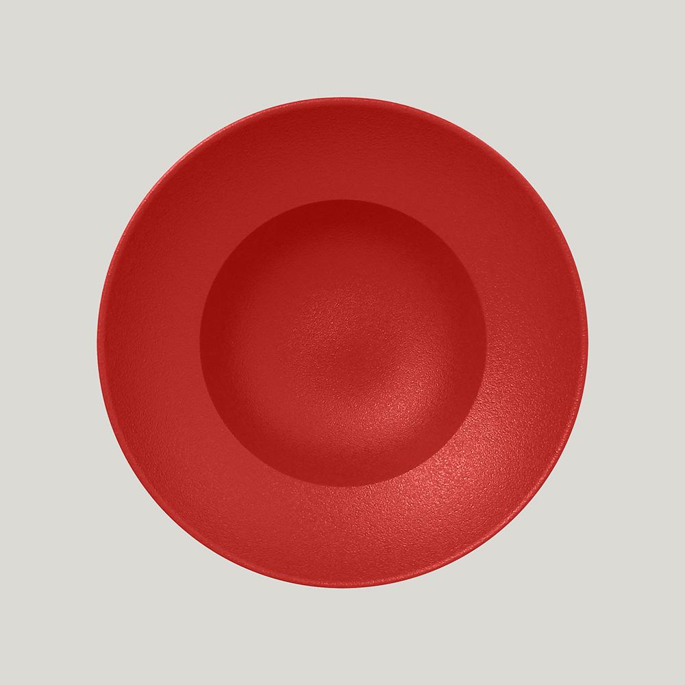 Тарелка  круглая глубокая 23 см (красный цвет)